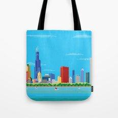 8-bit Pixel Chicago Skyline Tote Bag