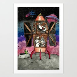 Bunnies and mole visit far-away planets Art Print
