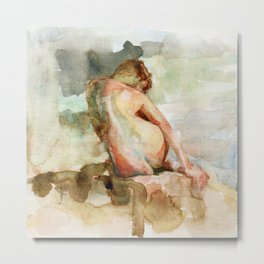 Watercolour Nude Woman Figure Expressive Colourful Painting of Female Metal Print