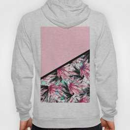 Blush Pink and Teal Abstract Tropical Leaves Hoody