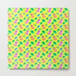 Cute happy little baby pink tigers tropical rainforest exotic green blue leaves yellow pattern Metal Print