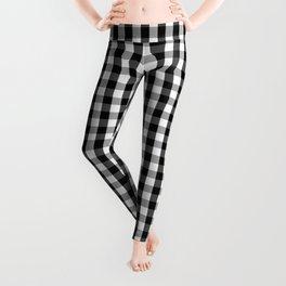 Classic Black & White Gingham Check Pattern Leggings
