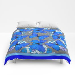 Decorative Blue Shades Butterfly Grey Pattern Art Comforters