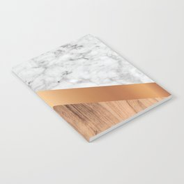 Stone Arrow Pattern - White Marble, Rose Gold & Wood #924 Notebook