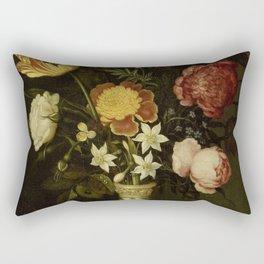Ambrosius Bosschaert - Still life with flowers in a Wan-Li vase (1619) Rectangular Pillow