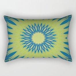 Bright Lime Green and Blue Mandala Rectangular Pillow