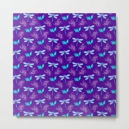Pretty beautiful cute pink blue dragonflies, delicate little leaves elegant purple botanical pattern Metal Print