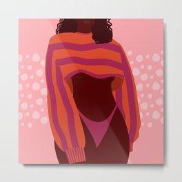 Sweater Weather // Woman, Feminine, Fun, Pink, Orange, Melanin Metal Print