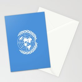 Flag on United nations -Un,World,peace,Unesco,Unicef,human rights,sky,blue,pacific,people,state,onu Stationery Cards