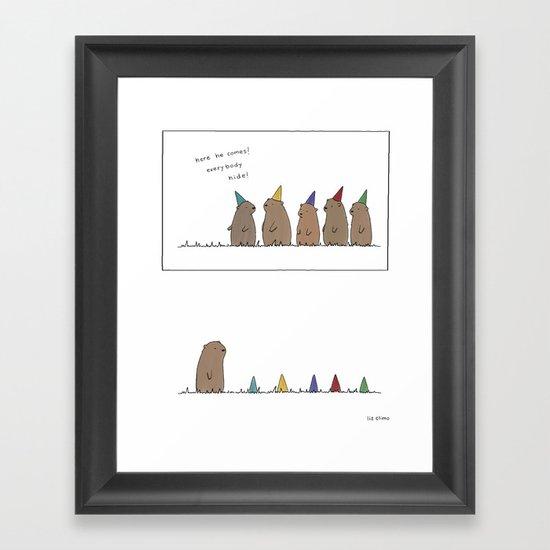 Groundhog Surprise Party  Framed Art Print