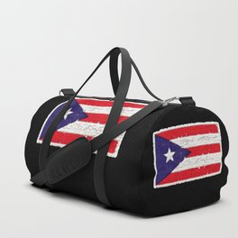 Puerto Rican flag with distressed textures Duffle Bag