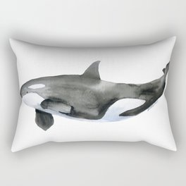Orca Killer Whale Watercolor Rectangular Pillow