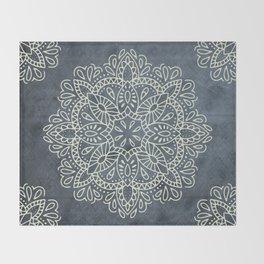 Mandala Vintage Ivory Blue Throw Blanket