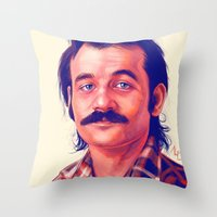 bill Throw Pillows featuring Young Mr. Bill Murray by Thubakabra