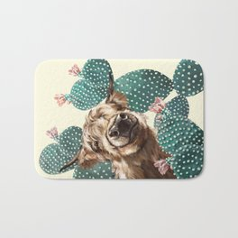 Sneaky Highland Cow and Cactus in yellow Bath Mat