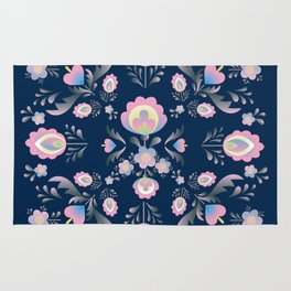 Folk Flowers in Pink and Indigo Rug