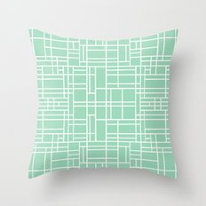 Map Outline Mint Throw Pillow