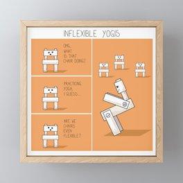Funny yoga comic strip with chairs Framed Mini Art Print
