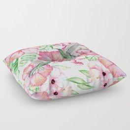 Hibiscus + Hummingbirds Pink Floor Pillow