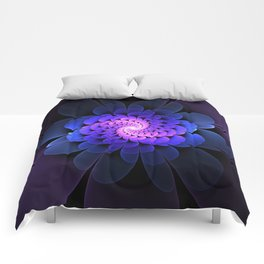 Spiraling Flower Fractal in Blue and Purple Comforters