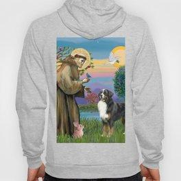 Saint Francis Blesses a Bernes Mountain Dog Hoody