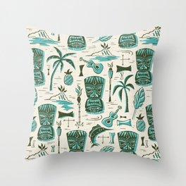 Tropical Tiki - Cream & Aqua Throw Pillow