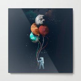 Astronauts and Planet Balloon Metal Print