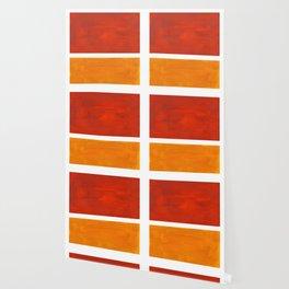 Burnt Orange Yellow Ochre Mid Century Modern Abstract Minimalist Rothko Color Field Squares Wallpaper