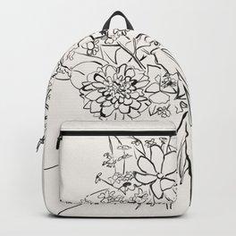 Hand Holding Flowers sketch art Backpack