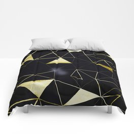 Gold Triangle Geometric Pattern on Black Suede Comforters