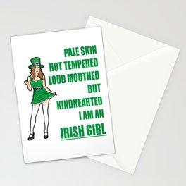 I am an Irish Girl 2 Pale Skin.. St. Patty's Day Green Women Gift Shirt Stationery Cards