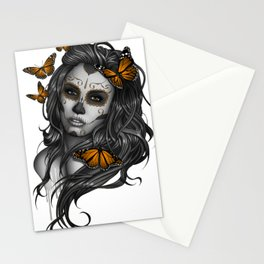 Sugar Skull Tattoo Girl with Butterflies Stationery Cards