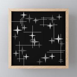 Mid Century Modern Stars (Black) Framed Mini Art Print
