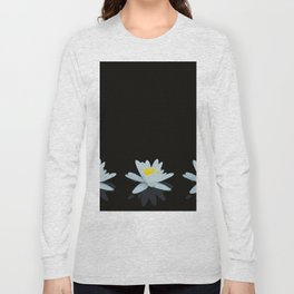 Waterlily Flowers On Black Background #decor #society6 #buyart Long Sleeve T-shirt