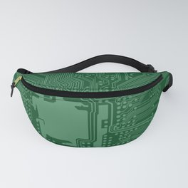 Green Geek Motherboard Circuit Pattern Fanny Pack