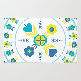 Folk Flowers in Yellow and Turquoise Rug