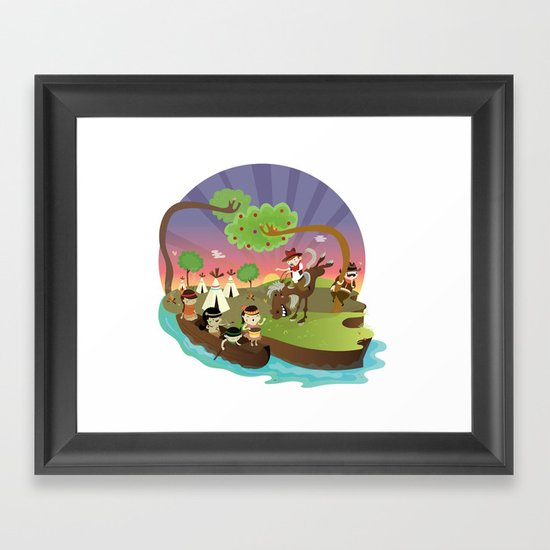 Indians and cowboys Framed Art Print