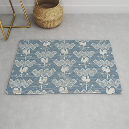 Farmhouse Rooster Weather Vane Worn and Faded Blue Beige Rug