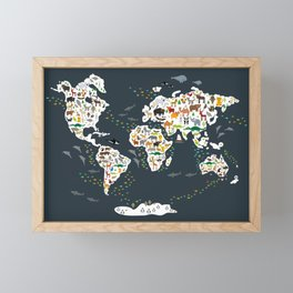Cartoon animal world map for kids, back to schhool. Animals from all over the world Framed Mini Art Print