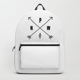 PNW Pacific Northwest Compass - Black on White Minimal Backpack