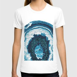 Blue White Agate with Blue Glitter #1 #gem #decor #art #society6 T-shirt