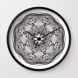 Crazy mandala template, zendoodle. Round zentangle. Round ornament lace pattern Wall Clock