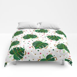 Monstera Leaves with Gold Pink and Green Geometric Confetti Comforters