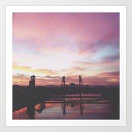 Steel Bridge Sunrise Art Print