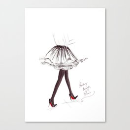 Watercolour Fashion Illustration Titled Strolling through Paris Canvas Print