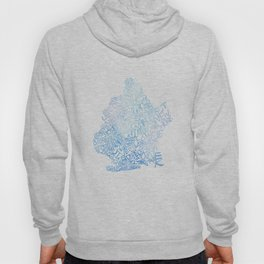 Typographic Brooklyn - Blue Watercolor map art Hoody