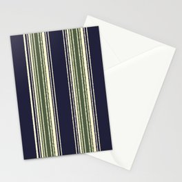 Navy blue and sage green stripes Stationery Cards