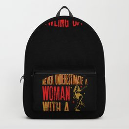 Never Underestimate A Woman With a Bowling Ball Funny Gift design Backpack