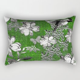 Birds Green Gray White Toile Rectangular Pillow