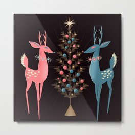 Midcentury Pink And Aqua Holiday At The North Pole Metal Print